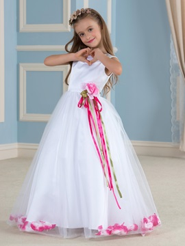 Admirable Floor Length A Line Flower Girl Dress With Sash