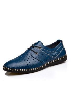 Thread Air Permeable Lace Up Mens Shoes