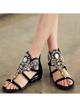 Straps Beading Womens Flat Sandals