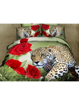 Leopard And Rose Print 4 Piece Cotton Duvet Cover Sets