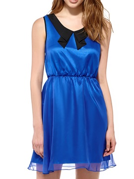 Contrast Collar Sleeveless Dress