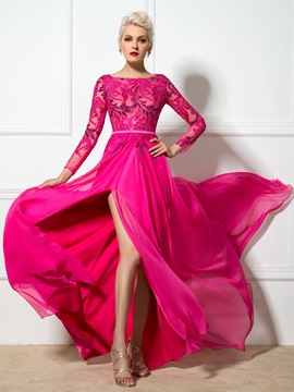 Ladylike Bateau Neck Sequined Appliques Long Sleeves Split Front Long Evening Dress