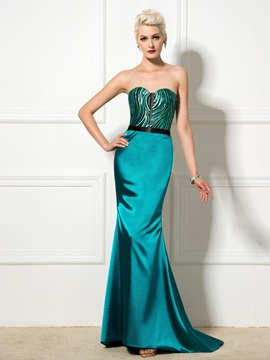 Elegant Sweetheart Sequined Lace Up Long Trumpet Evening Dress