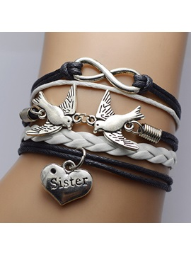 Double Birds Infinity Decorated Sister Bracelet