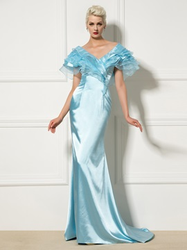 Fancy V Neck Cap Sleeve Tiered Sweep Train Long Mermaid Evening Dress