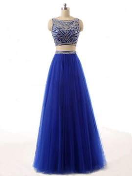 Fashion Scoop Neck Beaded A Line Two Pieces Long Prom Dress