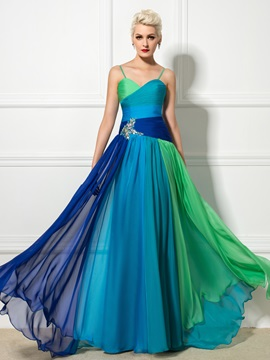 Amazing A Line Spaghetti Straps Color Block Pleats Beaded Long Evening Dress