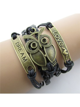 Vintage Owl Decorated Womens Bracelet