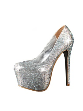 Full Rinestone Stiletto Heel Womens Prom Shoes