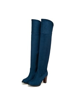 Faux Suede Chunky Heel Knee High Boots