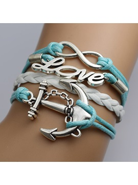 Multi Layer Anchor Letters Infinity Bracelet