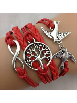 Vintage Birds Tree Decorated Infinity Bracelet