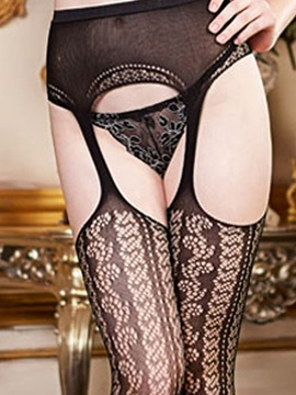 Solid Silk Cut Out Stockings
