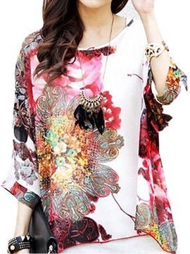 Casual Mixed Printing 3 4 Sleeve Blouse