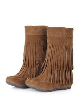 Tassels Suede Womens Short Boots