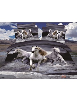 The Running Horses On Water Printing Polyster Bedding Set