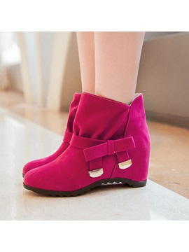 Bowknot Elevator Heel Womens Wedge Boots