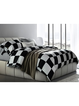 Black And White Checkered Squares Cotton Bedding Sets
