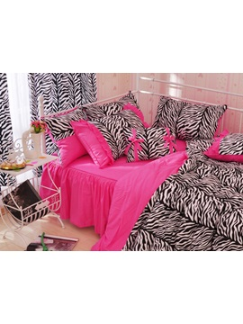 Pretty Charming Pink Zebra Pattern4 Piece Cotton Duvet Cover Sets