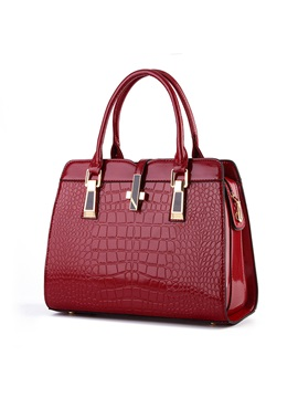 Pu Solid Crocodile Women Satchel