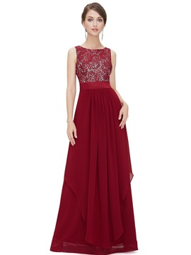Simple Scoop Neck A Line Lace Long Evening Dress