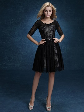 Casual Half Sleeve A Line Knee Length Lace Black Homecoming Dress