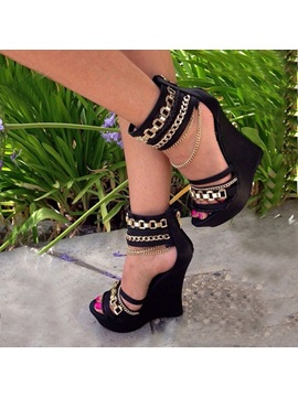 Metal Chain Strappy Womens Wedges