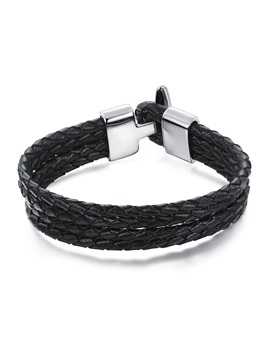 Four Layer Weaved With Metal Buckle Mens Bracelet