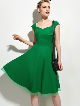 Solid Frill Cap Sleeve Womens Skater Dress