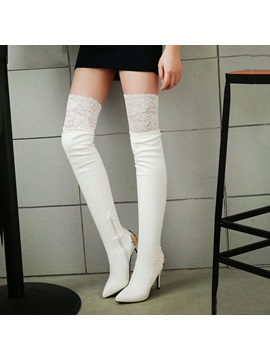 Metal Deco Lace Patchwork Thigh High Boots