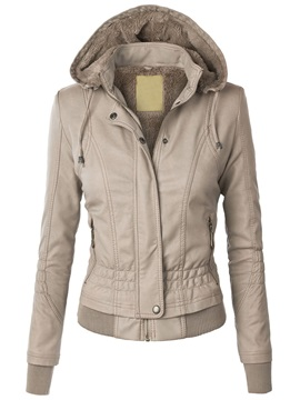Solid Color Hooded Slim Womens Jacket