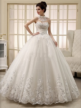 Lace Appliques Pearls Ball Gown Wedding Dress