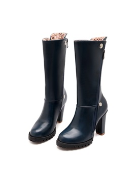 Solid Color Studded Side Zip Riding Boots