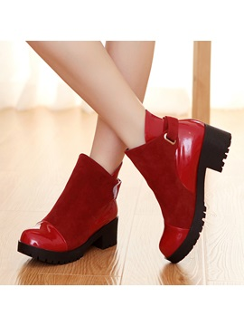Pu Patchwork Chunky Heel Womens Martin Boots