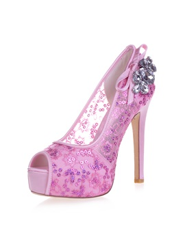Rhinestone Peep Toe Lace Stiletto Heel Wedding Shoes