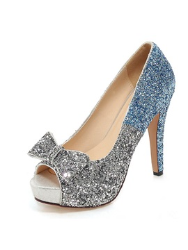 Sequin Peep Toe Bowknot Prom Shoes