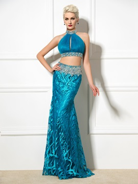 Sexy Backless Halter Hollow Sheath Beaded Two Pieces Long Lace Evening Dress