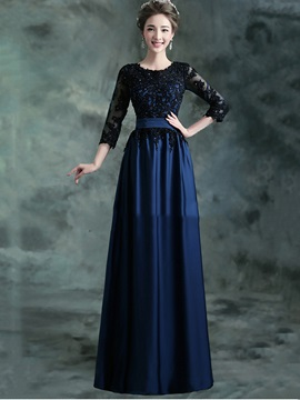 Appliques 3 4 Length Sleeves Long Mother Of The Bride Dress
