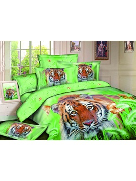 High Quality 3d Tiger In Prairie 4 Pieces Bedding Sets