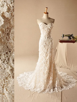 Elegant Mermaid Trumpet Sweetheart Lace Wedding Dress