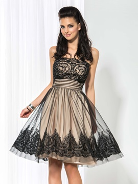 Fancy Strapless Empire Waist A Line Appliques Short Cocktail Dress