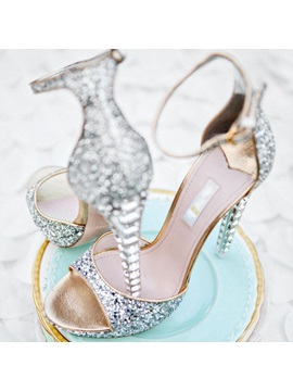 Open Toe Sequin Crystal Heel Ankle Strap Wedding Shoes