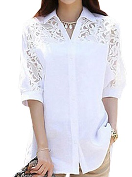 Lace Stitching Three Quarter Sleeves Shirt
