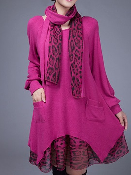 Fashion Double Layer Scarf Loose Sweater