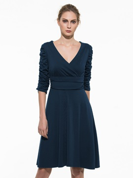 Solid Color 3 4 Sleeve Pleated Womens Day Dress