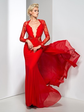 Sexy Backless Deep V Neck Appliques Lace Long Sleeves Long Evening Dress