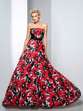 Modest Strapless Bowknot Sweep Train Long Printed Evening Dress