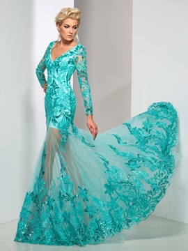 Graceful V Neck Sequined Appliques Long Sleeve Long Mermaid Evening Dress