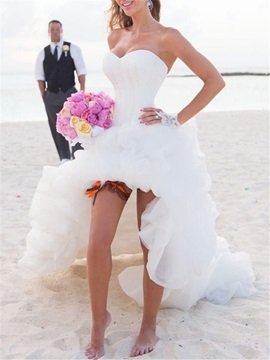 Asymmetry High Low Organza Ruffles Beach Wedding Dress