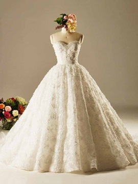 High Quality Lace Up Ball Gown Lace Wedding Dress